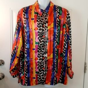CAnastasia long sleeve button front printed blouse